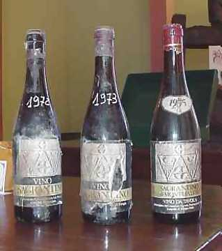 History of Sagrantino: on the left a rare bottle dated 1972, a 1973 on the center and a 1975 on the right