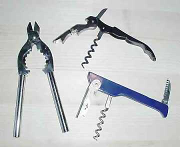 Sparkling wine pliers and two types of corkscrews