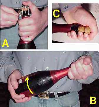 Opening of a bottle of sparkling wine
