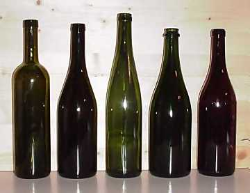 Styles of bottles. From left to right: Bordeaux, Bourgogne, Flute, Champagne, Albeisa