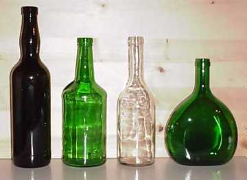 Styles of bottles. From left to right: Marsala, Porto, Hungarian, Bocksbeutel