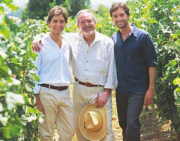 Dr. Giuseppe Benanti and his sons in their vineyard