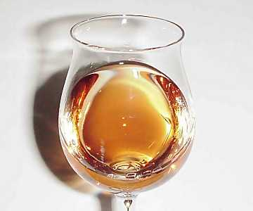 The color of a distillate aged in cask