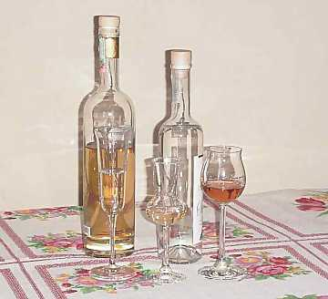 Three types of glasses for the tasting of distillates