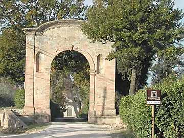 The entrance arc of Antonelli San Marco winery