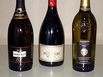 The three Prosecco di Valdobbiadene wines of our comparative tasting