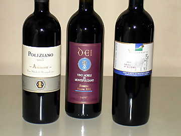 The three Vino Nobile di Montepulciano wines of our comparative tasting