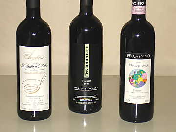 The three Dolcetto wines of our comparative tasting