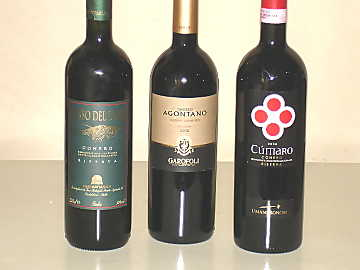 The trhree Rosso Conero Riserva wines of our comparative tasting