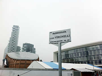 The plate of ``Passeggiata Luigi Veronelli'' near Gae Aulenti square