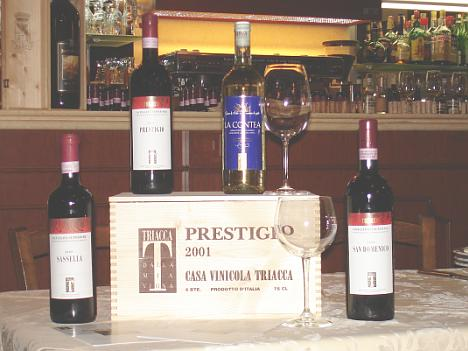 The four Casa Vinicola Triacca's wines tasted during the event