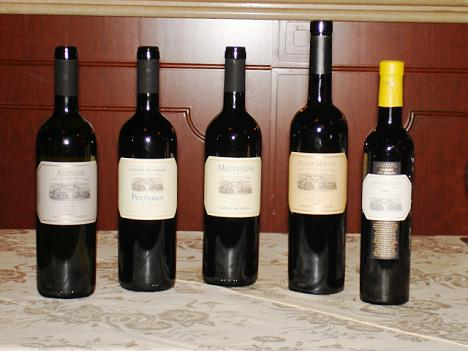The five Casale del Giglio's wines tasted during the event