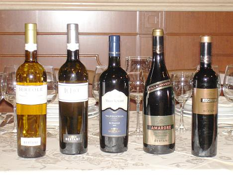 The five Bertani's wines tasted during the event