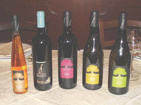 The five Roberto Scubla's wines tasted during the event
