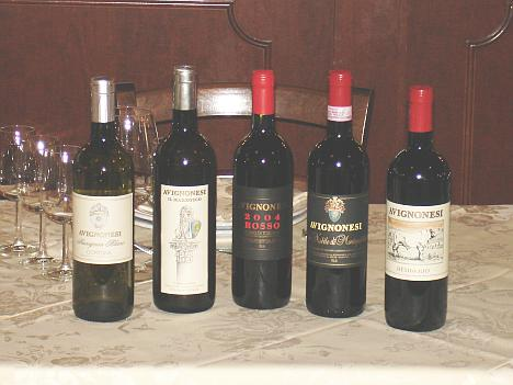 The five wines of Avignonesi tasted during the event