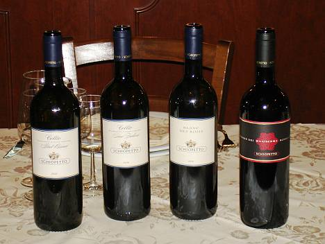 The four Mario Schiopetto's wines tasted during the event