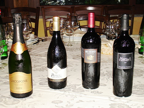 The five wines of Franco Todini Winery tasted during the event