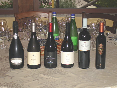 The six wines of Duca di Salaparuta tasted during the event
