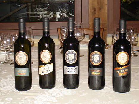 The five wines of Ceraudo Winery tasted during the event
