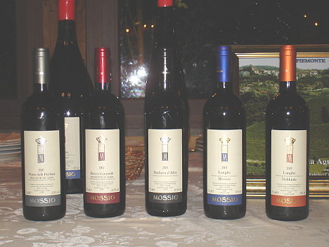 The five wines of Mossio Brothers tasted during the event