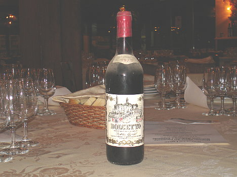 A bottle of Mossio's Dolcetto 1975