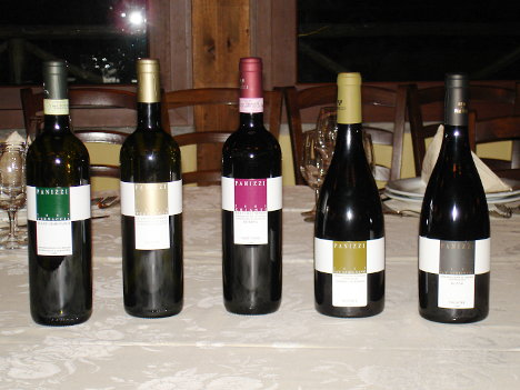 The five wines of Giovanni Panizzi tasted during the event