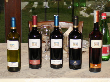 The four wines and the grappa of Castello delle Regine tasted during the event