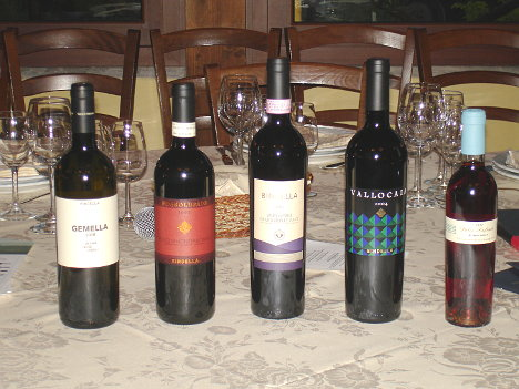 The five wines of Bindella tasted during the event