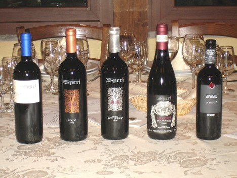 The five wines of Speri Viticoltori tasted during the event