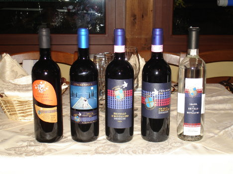 The four wines and the grappa of Donatella Cinelli Colombini tasted during the event