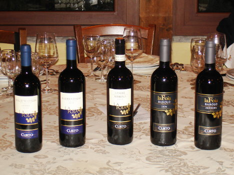 The five wines of Marco Curto tasted during the event