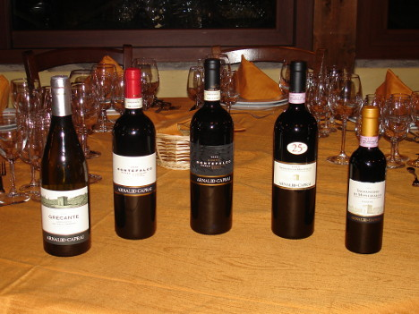 The five wines of Arnaldo Caprai winery tasted during the event