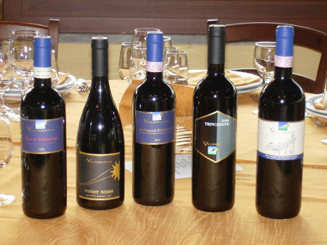The five wines of Tenuta Valdipiatta tasted during the event