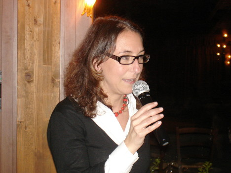 Dr. Miriam Caporali during one of her speeches