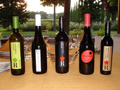 The five wines of Roccafiore winery tasted during the event