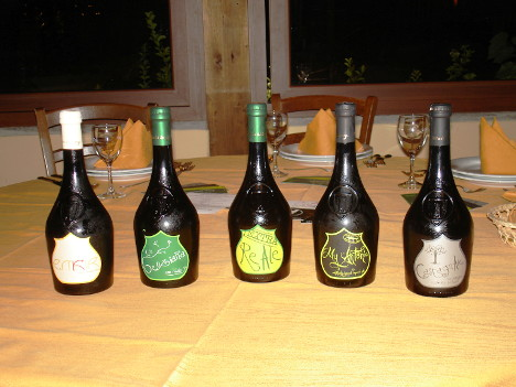 The five beers of Birra del Borgo tasted during the event