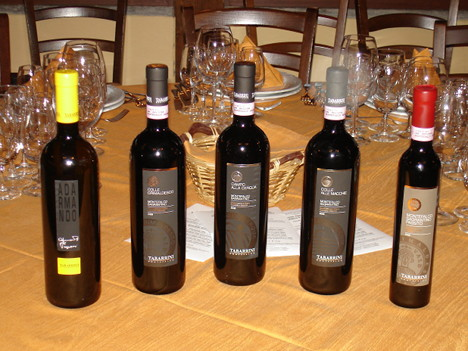 The five wines of Giampaolo Tabarrini tasted during the event