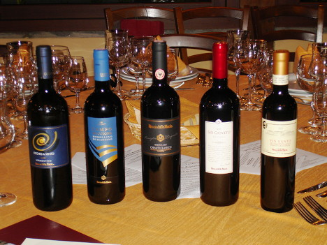 The five wines of Rocca delle Macie tasted during the event