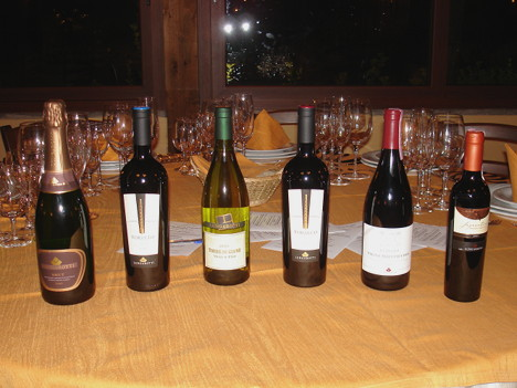 The six wines of Lungarotti winery tasted during the event