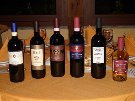 The six wines of Tenute Silvio Nardi tasted in the course of the event