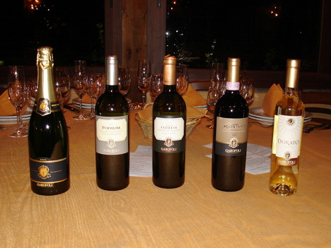 The five wines of Garofoli winery tasted during the event