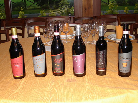 The six wines of Cascina Garitina winery tasted during the event