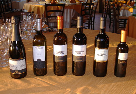 The six wines of Endrizzi winery tasted during the event