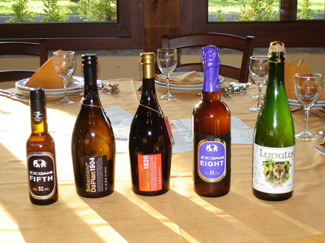 The five beers tasted during the event