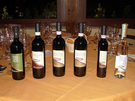 The five wines and grappa of Romanelli tasted during the event