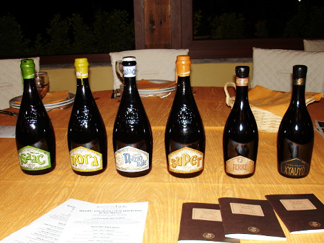 The six Baladin beers tasted during the event