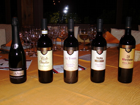 The five wines of Tenuta Cocci Grifoni tasted during the event
