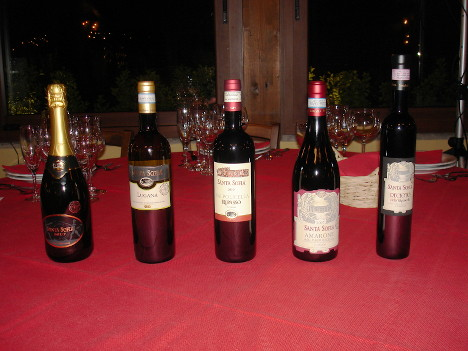 The five wines of Santa Sofia tasted during the event