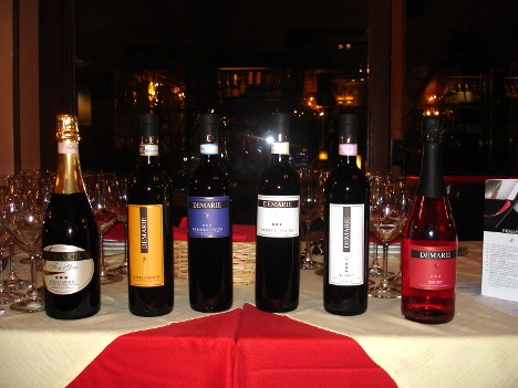 The six wines of Demarie winery tasted during the event