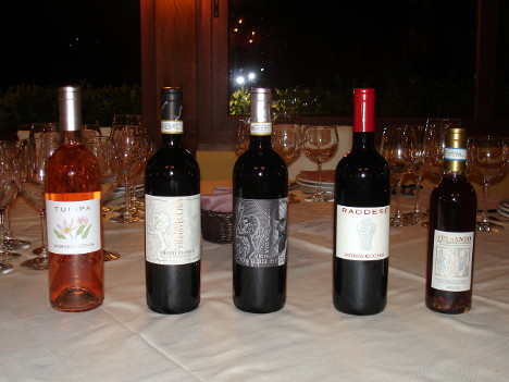 The five wines of Fattoria Vignavecchia tasted during the event